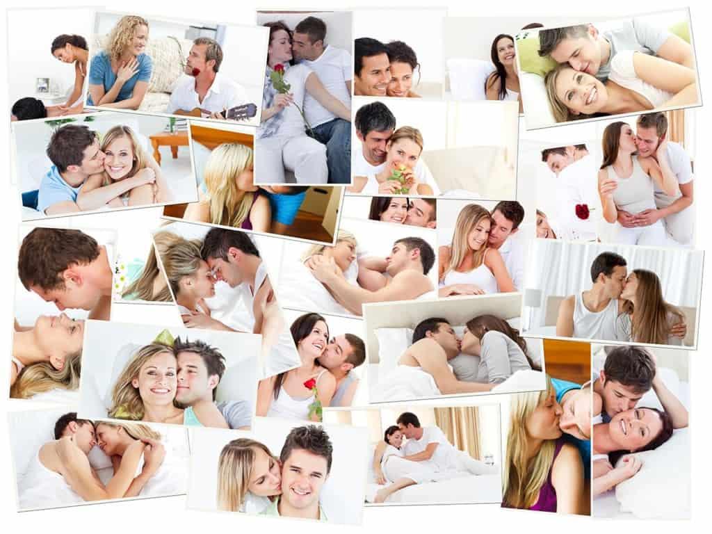 Bettbeziehung: Bildcollage von glücklichen Pärchen